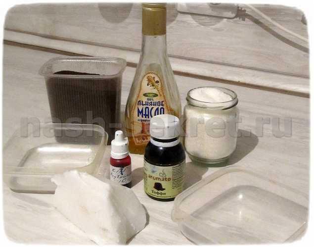 ингредиенты для сахарного скраба из мыльной основы