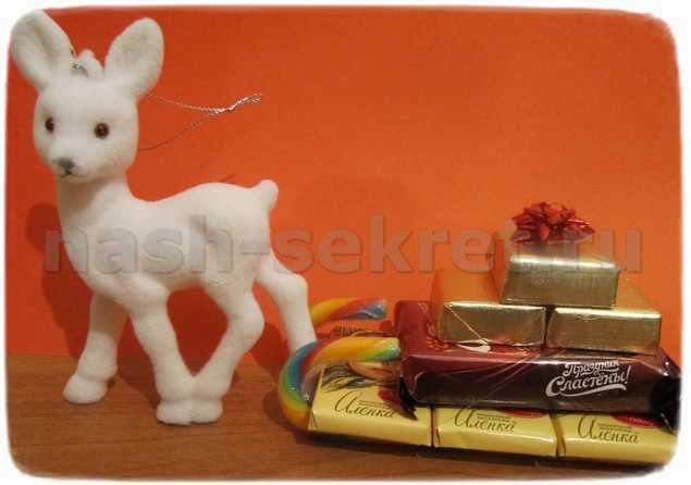 поделки из конфет на новый год