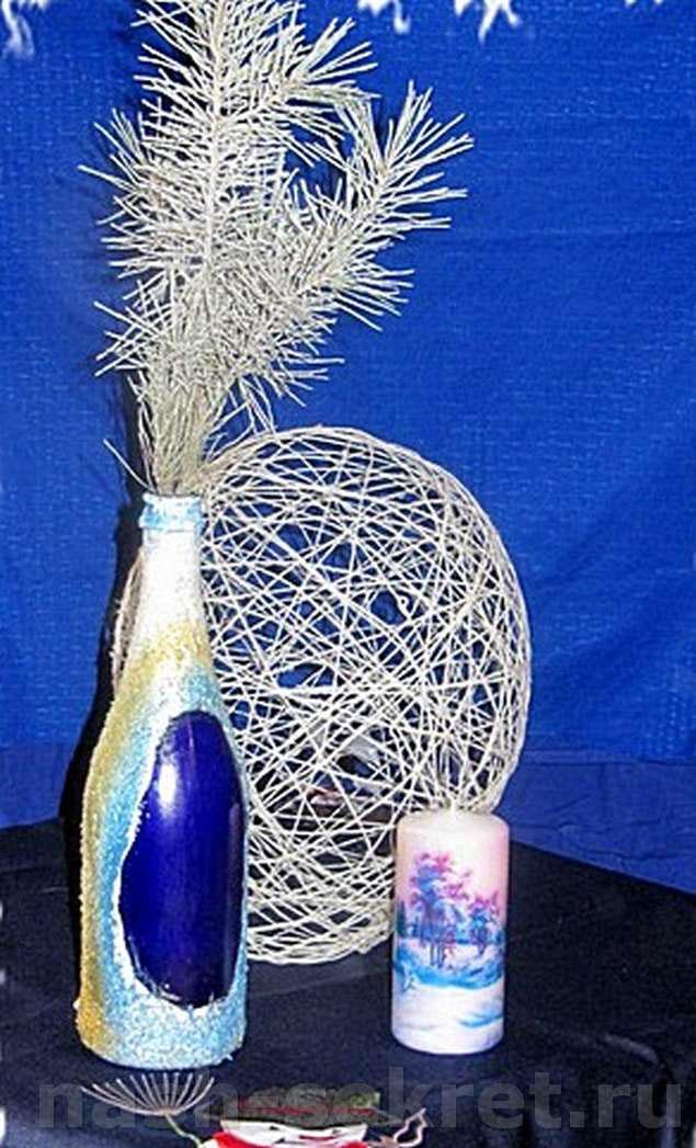 как из стеклянной бутылки сделать красивую вазу