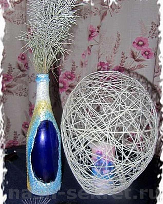 сделать вазу из бутылки стеклянной своими руками