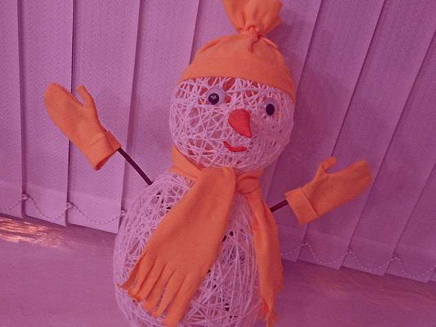 снеговик из хб ниток