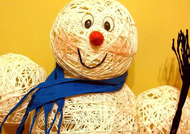 снеговик из ниток своими руками пошаговое фото