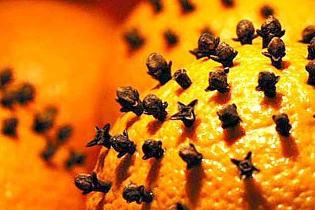 апельсин проткнутый гвоздичкой