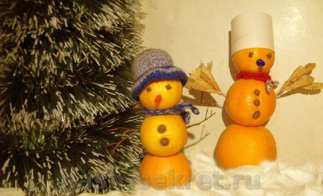 снеговик из мандарин