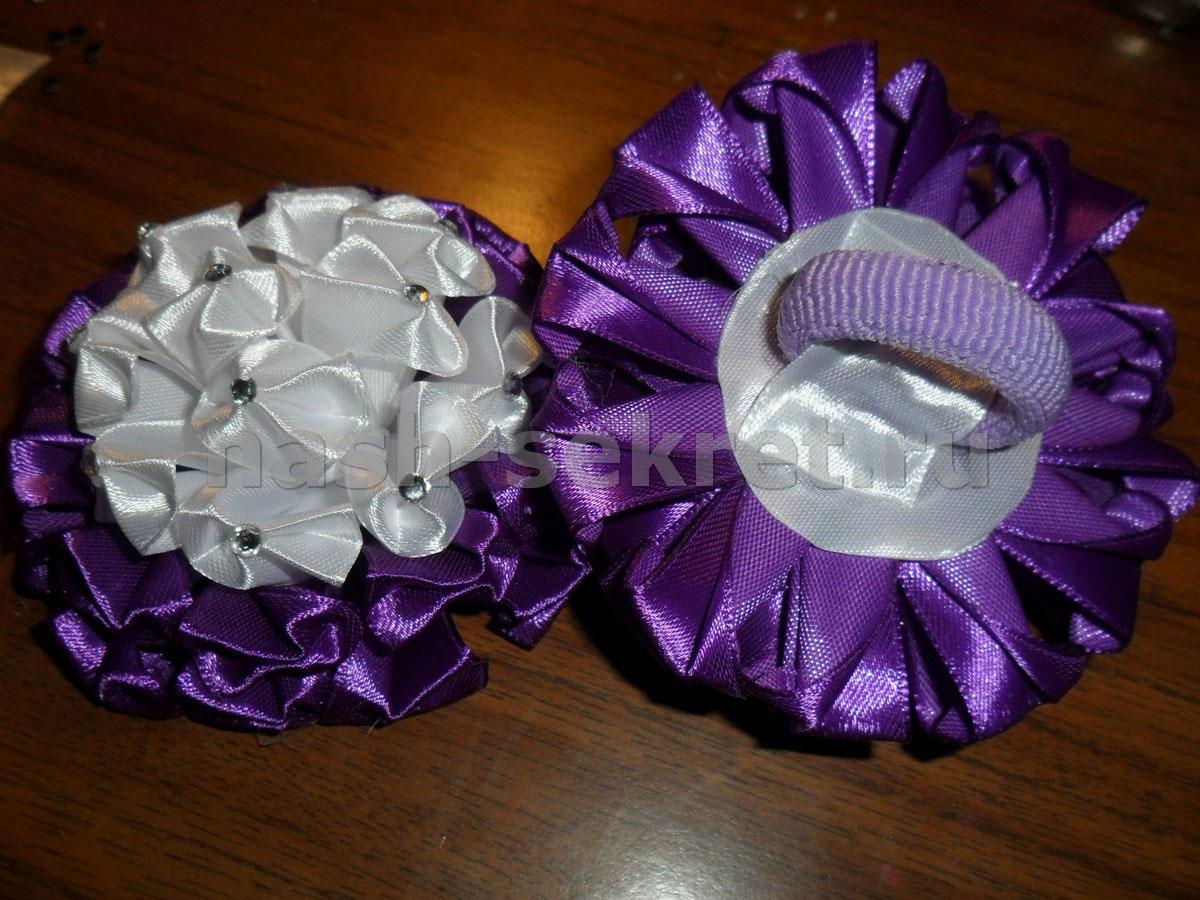 Резинки зефирки из атласных лент мастер класс