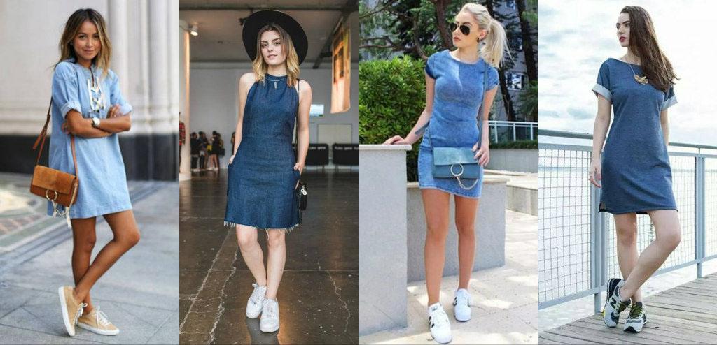 с джинсовыми платьями