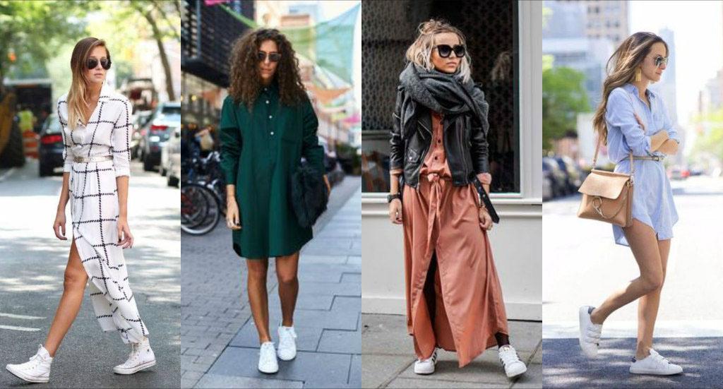 С какими платьями можно носить кроссовки