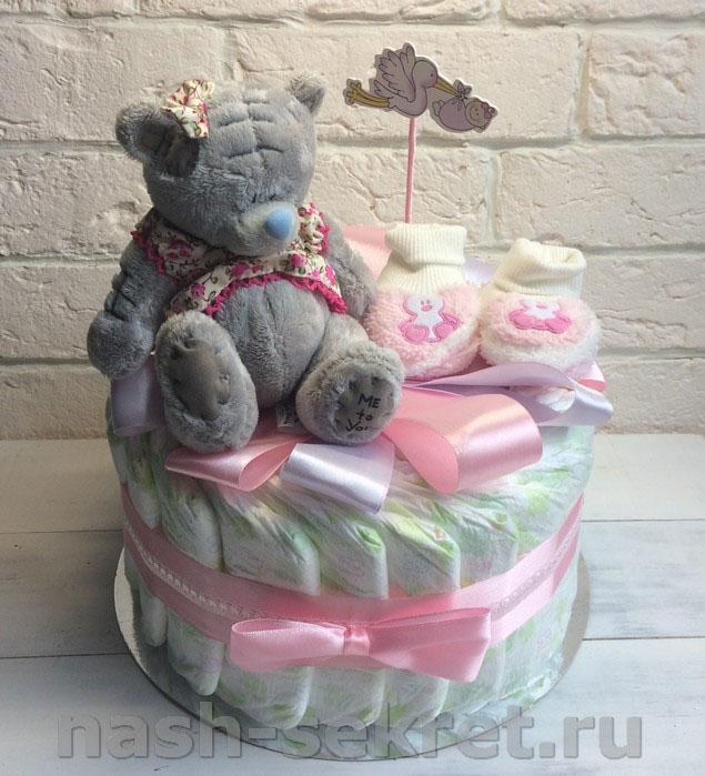 Торт из памперсов для девочки фото