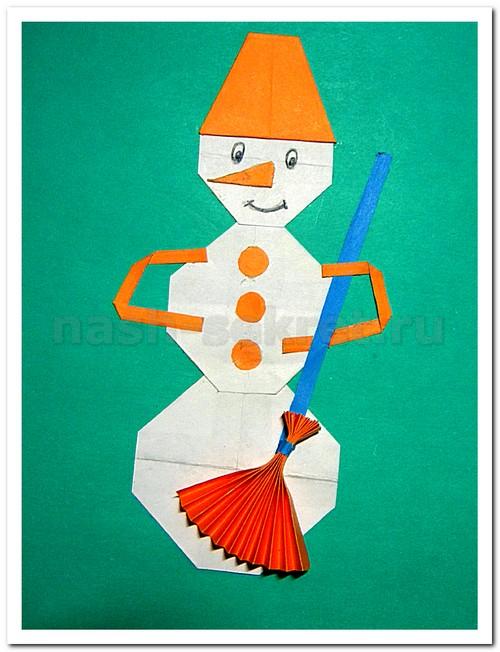 Детская аппликация снеговик