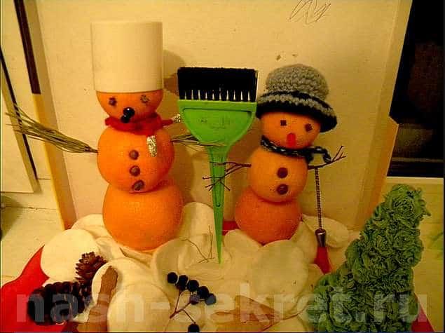 Снеговик из мандаринов как делать