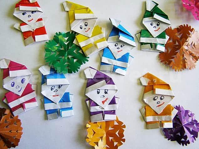 Оригами дед мороз из бумаги для детей